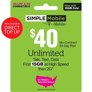 Simple Mobile $40 Reup (NO Physical Card Shipped, Refill Account Directly)