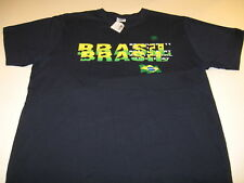 Country Flag of Brasil - Dark Blue Made in Brazil Tourist T-Shirt New! Nwt Large
