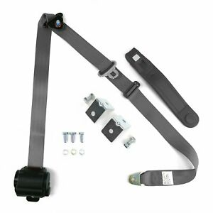 3pt Gray/Grey Retractable Seat Belt With Mounting Brackets - Standard Buckle