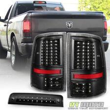Black 2009-2018 Dodge Ram 1500 Full LED Tail Lights+LED 3rd Brake Cargo Lamp Set