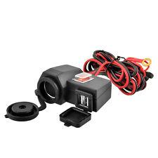 Motorcycle Cigarette Light Power 2 USB Port Integration 12V Red Switch Adapter