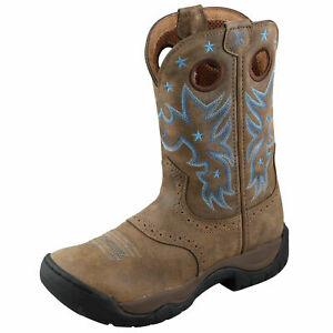 NWT Twisted X Women's 7.5 Brown w/ Blue Star Work Boot - Bomber & Bomber WAB0004