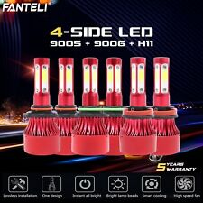 9005+9006+H11 6000K 4-Side LED Headlight Hi-Low Fog Light Kits 990000LM VS HID