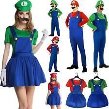 Family Kids Adult Super Mario Plumber Bros Fancy Dress Cosplay Costume Halloween