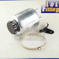 Universal Aluminum Alloy Power Steering Fluid Reservoir Tank / BLACK Cap