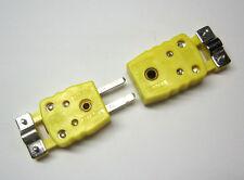 Miniature Mini K-Type Thermocouple Sensor Connector w Strain Relieve Set M/F