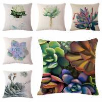 Decor Cover Cotton Throw Cushion Succulent Home Case Linen Plants Sofa Pillow