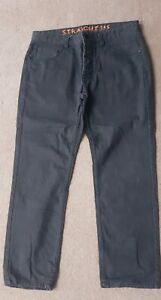 **NEXT MENS SIZE 34S DARK GREY STRAIGHT LEG WAXED FEEL JEANS**