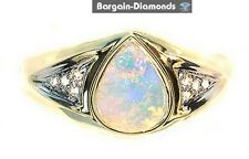 Solid Opal Diamonds 1.07 14K gold ring pink green blue red Australian engagement