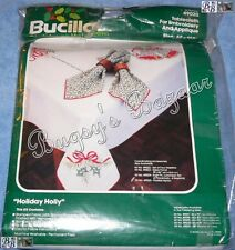 Bucilla HOLIDAY HOLLY Tablecloth 60x108 for Applique Embroidery Christmas Kit