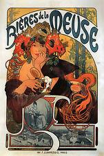 TELA QUADRO Alphonse Mucha Art Nouveau Deco bières de la Meuse NUOVO POSTER