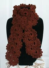 Beautiful Chocolate Queen Anne's Lace Handmade Crochet Scarf