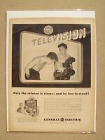 1948 GE GENERAL ELECTRIC TELEVISION TV BOXING PRINT AD