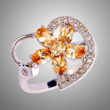 Delicate Flower Jewelry Morganite & White Topaz Gemstone Silver Ring Size 10