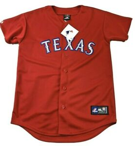 TEXAS RANGERS Womens L Red Button Jersey Big Texas Bling Spell-out NWT