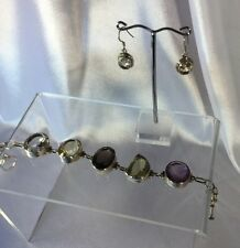 Bracelet,Earrings Sterling Citrine Amethyst,Large stones,Val $930.Handmade New