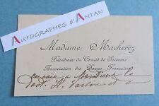 Carte autographe Jeanne MACHEREZ Héroine 1è guerre mondiale 14-18 WW1 Soissons