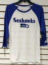 Seattle Seahawks NFL Football 3/4 Raglan Retro Logo White Blue T Shirt XX-Large