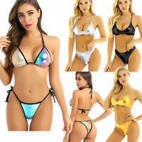 Women Metallic Shiny Bikini Bra Top Swimsuit Swimwear Set Bathing Suit Beachwear