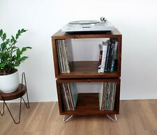 Double Wooden Industrial Record Player Stand, Vinyl  Record Storage Cabinet