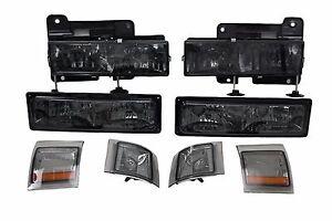 Headlight Bumper Light Corner Smoked Amber For 94-98 Chevy Truck Tahoe Suburban