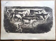 Gravure Sur Bois Originale Ancienne Troupeau Taureaux Gaston Chopard (1883-1942)