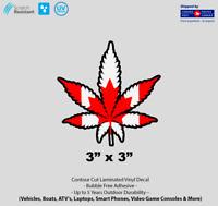 "3"" x 3""  Canadian Weed Marijuana Cannabis Pot Leaf Laminated Vinyl Decal"