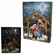 Christmas 32cm x 24cm LED Light up Nativity Wall Block Plaque
