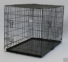 "Extra Large 48"" Folding Pet Dog Cage Crate Kennel With Plastic Pan Black-358"