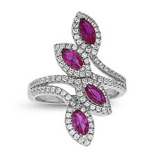 Sterling Silver Fashion Red Corundum Cocktail Ring with AAA quality CZ, Size 7