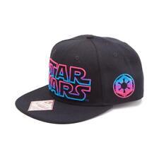 STAR WARS Male Embroidered Neon Galactic Empire Logo Snapback Baseball Cap Black