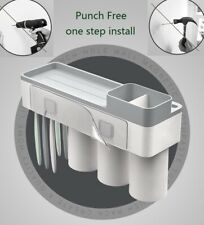 Neu Wall Mount Toothbrush Holder Bathroom Accessories Storage Rack with 3 Cups