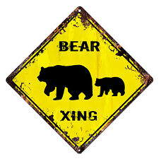 DS-0022 BEAR XING Diamond Sign Rustic Chic Sign Shop Home Decor Gift