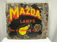Vintage Mazda Lamp Porcelain Enamel Sign Board Double Sided Electric Bulb Adver""