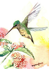 ACEO Limited Edition, Little gem, Art print of an ACEO watercolor,Hummingbird