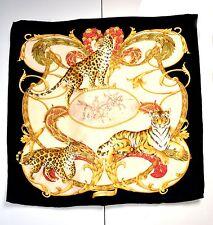 Salvatore Ferragamo Scarf Silk Tiger Floral Designer Foulard Sciarpa Care Tag