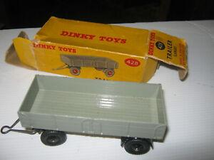 DINKY 428 TRAILER FROM 1954-64 GOOD ORIGINAL TRAILER & AGE WORN ORIGINAL BOX .