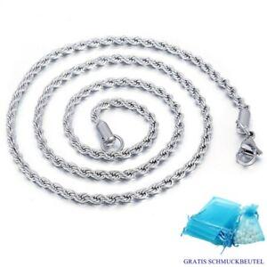 Kordelkette Edelstahl Massiv 2,4 mm Silber Anhänger Halskette Damen Herren 45-60
