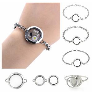 30mm/25mm Stainless Steel Floating Living Memory Glass Locket Bangle Bracelet