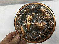 Vintage Copper Stove Pipe Cover Plate Hunting Scene Bird Dog Spaniel 6.5in diame