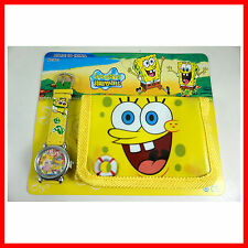 NEWEST SpongeBob SquarePants Children's Kids Boys Girl Watch Wallet Set For Gift