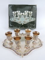 Silver Plated Tray & 6 Wine Cups Goblet For Kiddush Judaica Jewish Israel in Box