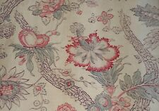 Antique French Indienne Tree of Life Floral Fabric ~Softened Coral Green~ Patina