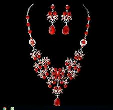 SILVER TONE RED FLOWER AND  TEAR DROP DIAMANTE CRYSTAL NECKLACE EARRING  SEbj-l