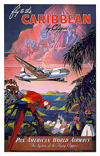 VINTAGE PAN AM Carribean TRAVEL POSTER A3 stampa