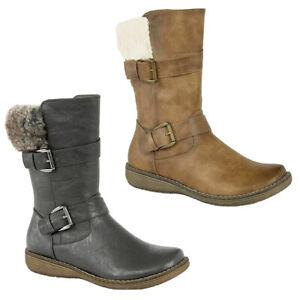 Boots Biker Faux Fur Collar Mid Calf Twin Buckle Zip-Up Ladies Comfort Boot Tan