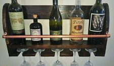 Wine Whiskey Rack & Glass Holder Floating Rustic Wood Shelf Handmade