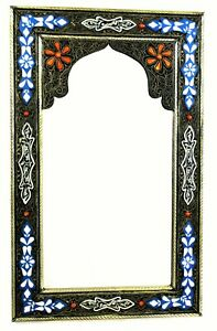 Moroccan Wall Mirror Large Authentic Home Decor Handmade Orange Blue Silver