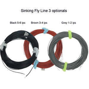 Aventik Full Sinking Black / Brown Fly Fishing Line With Exposed Loop