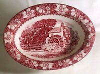 "Woods Burslem Pink Transfer Colonial 10"" Oval Vegetable Bowl"